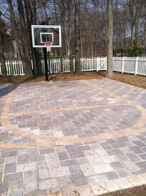 Backyard basketball court options home court hoops Basketball court installation cost