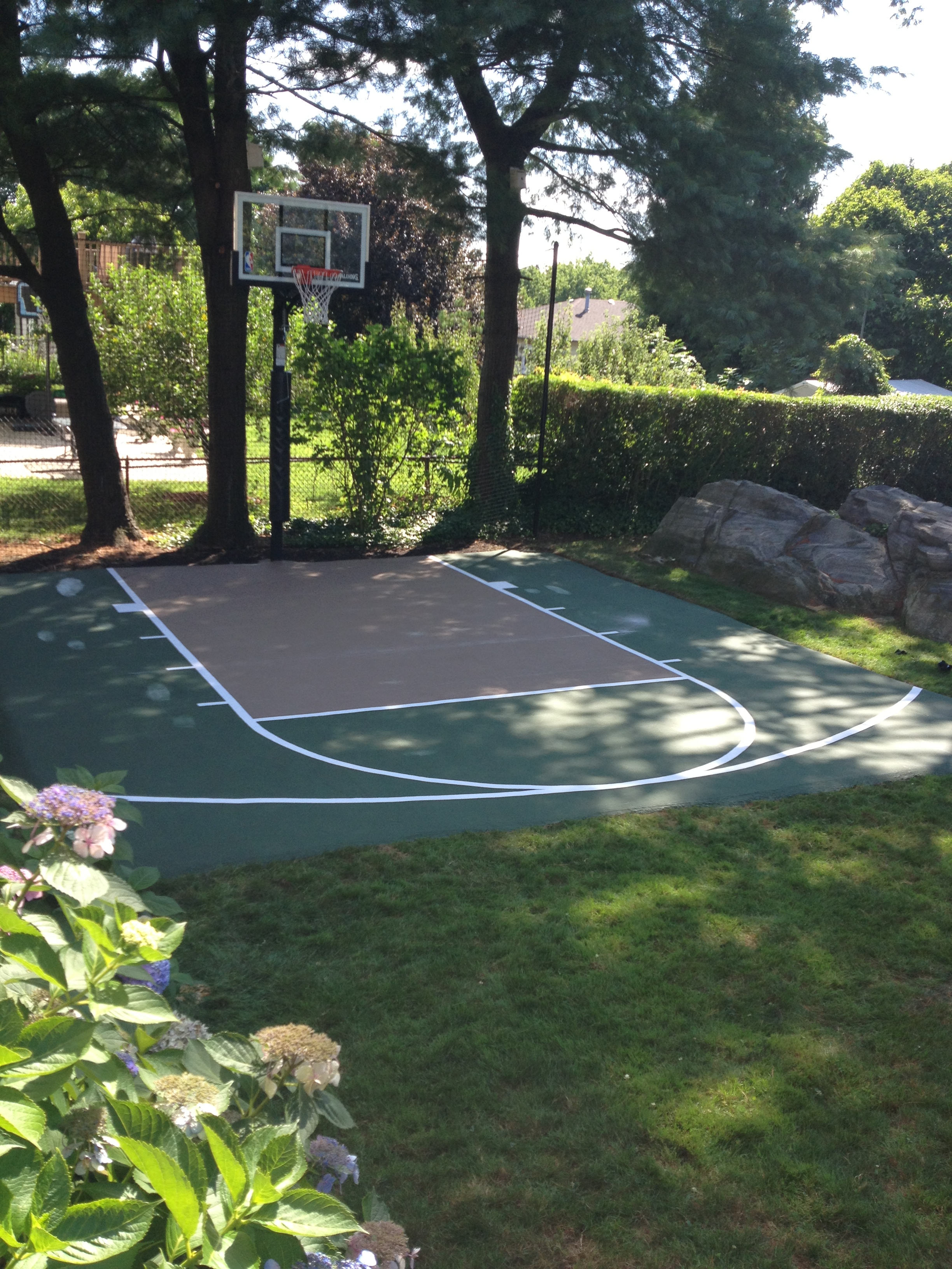 Basketball court dimensions home court hoops for Home basketball court size